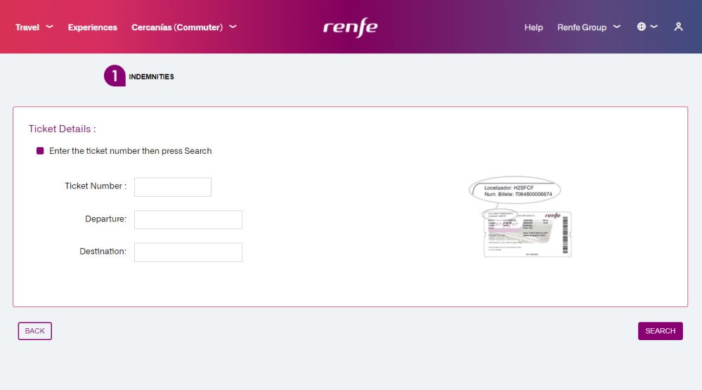 Screenshot of the page from the Spanish train company RENFE's website where you can claim a refund if your train is delayed